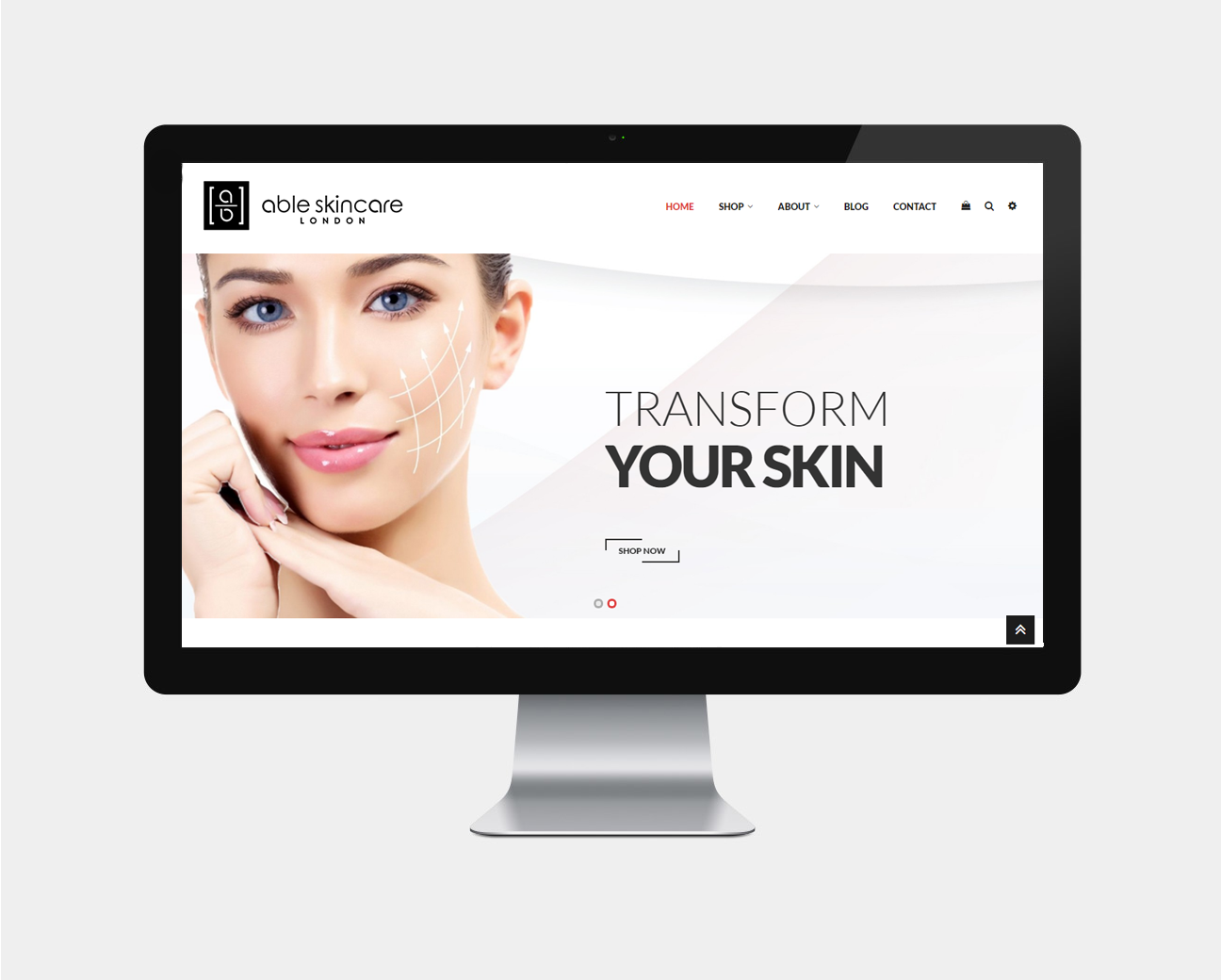 able skincare ecommerce design pristine media uk